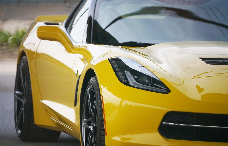Photo wallpaper yellow, design, the front, Corvette Chevrolet