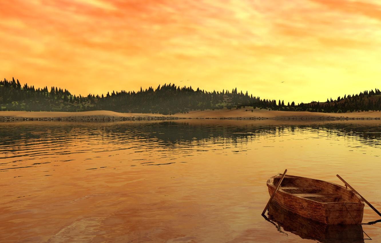 Photo wallpaper trees, landscape, lake, river, shore, boat, dawn