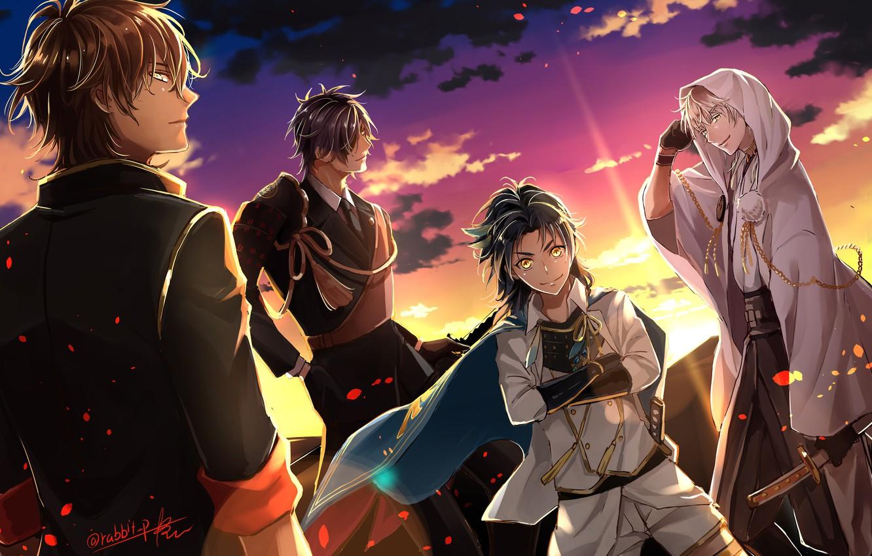 Photo wallpaper sunset, anime, art, guys, Touken Ranbu, Dance of swords