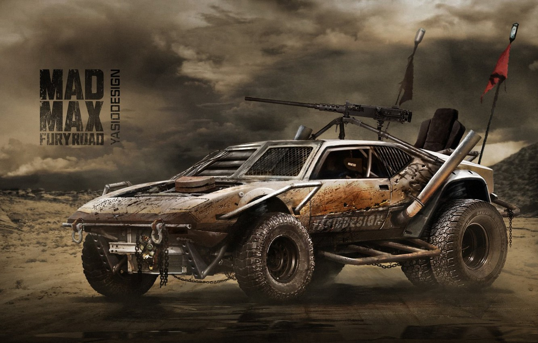 Photo wallpaper Auto, Figure, Machine, Background, Car, Car, Art, Art, Rendering, Pantera, Mad Max, Mad Max Fury …