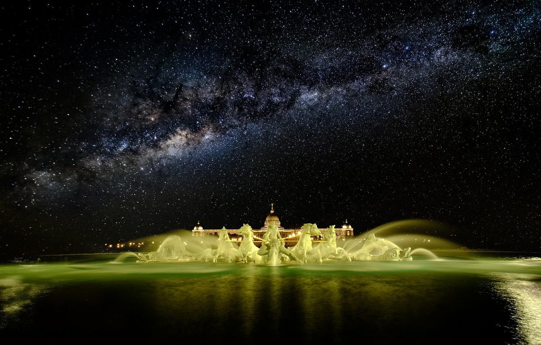 Photo wallpaper stars, night, fountain, the milky way