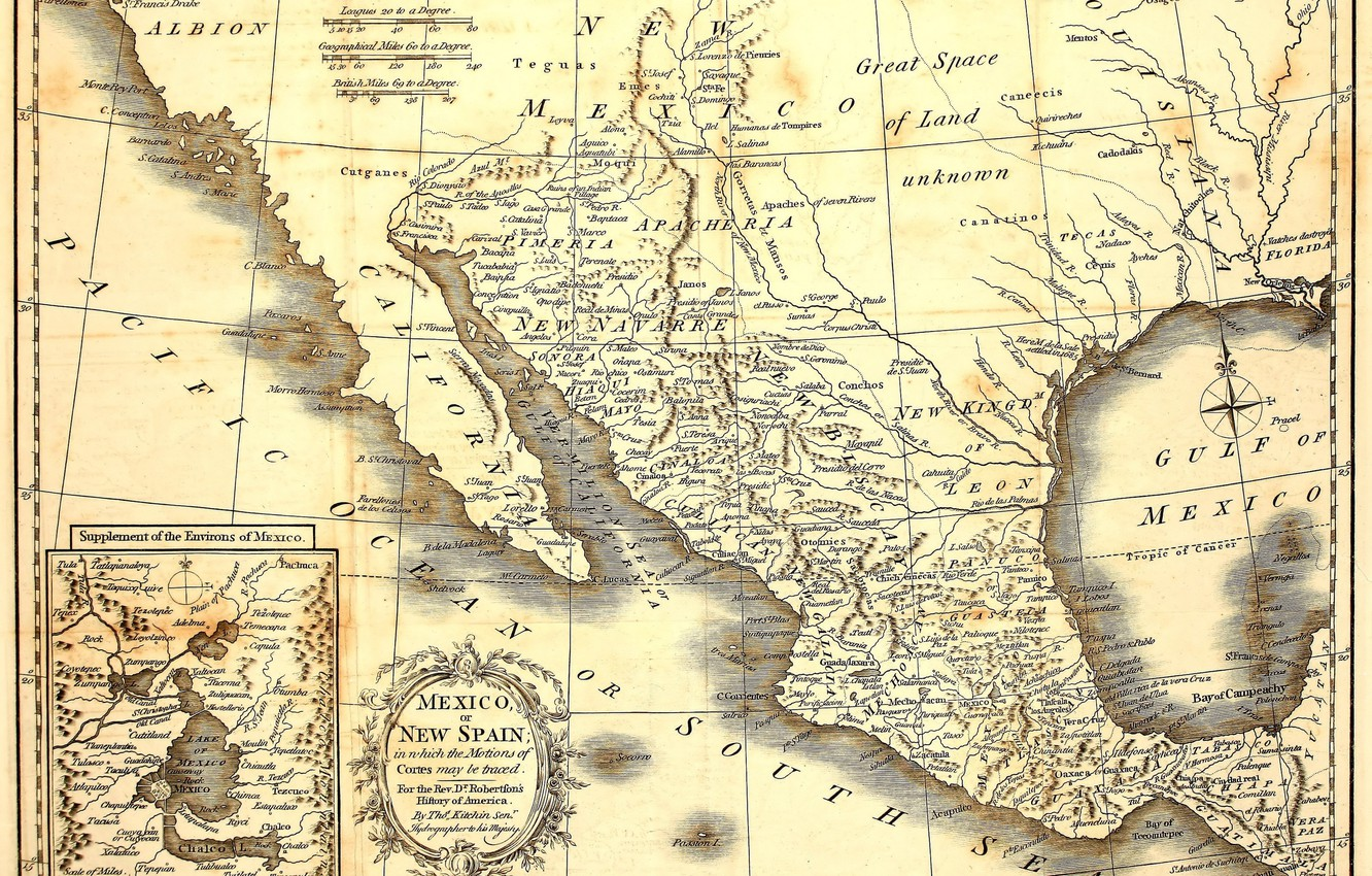 Photo wallpaper Mexico, old, map, paper
