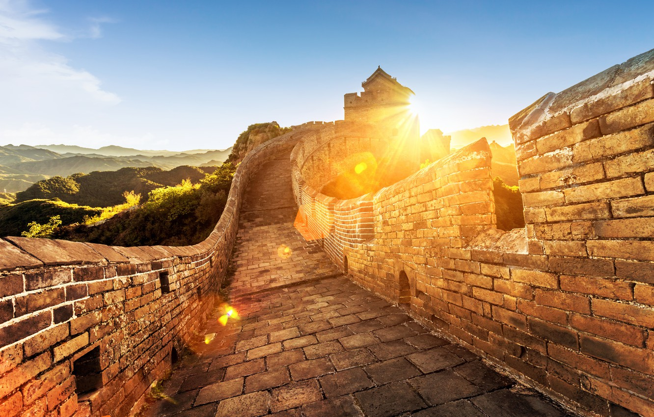 Photo wallpaper landscape, mountains, stay, blur, China, summer, bokeh, travel, The great wall of China, tourism, wallpaper., …