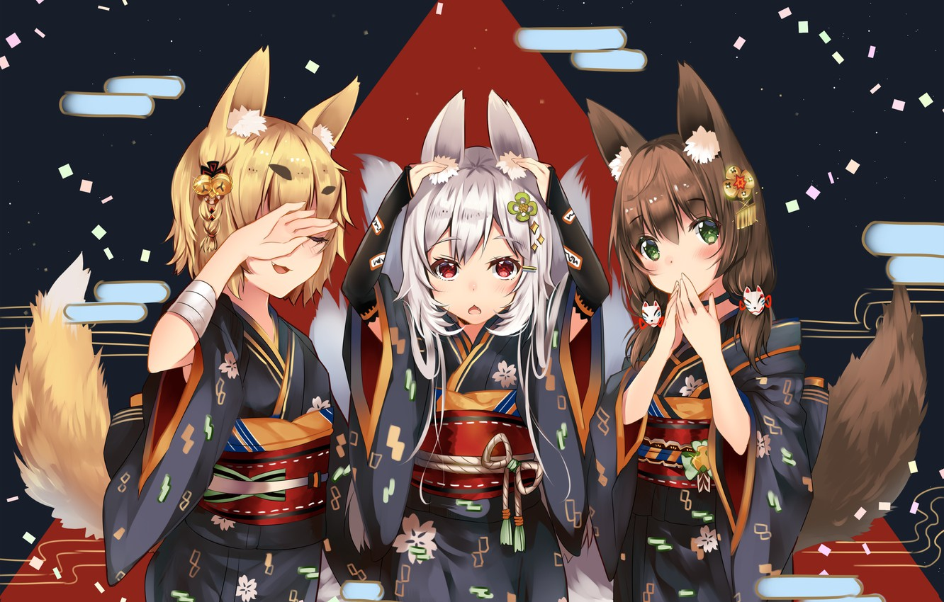 Photo wallpaper Japan, belt, kimono, gesture, ears, art, can't hear anything, can't see anything, fox girl, Fox …
