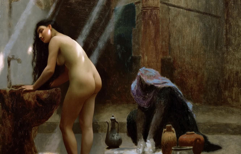 Photo wallpaper erotic, picture, Jean-Leon Gerome, Woman in Turkish Bath
