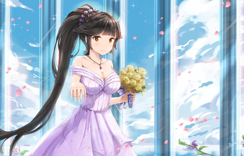 Photo wallpaper girl, flowers, Ongan Bilan