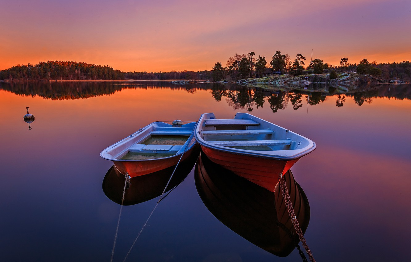 Photo wallpaper forest, trees, sunset, river, boats, the evening, Sweden