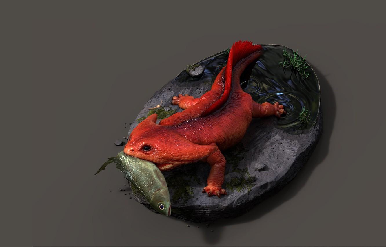 Photo wallpaper art, lizard, Gotcha!, Alina Ivanchenko