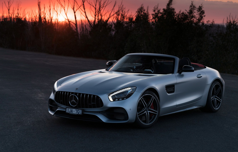 Photo wallpaper sunset, Roadster, Mercedes-Benz, AMG, 2018, GT C