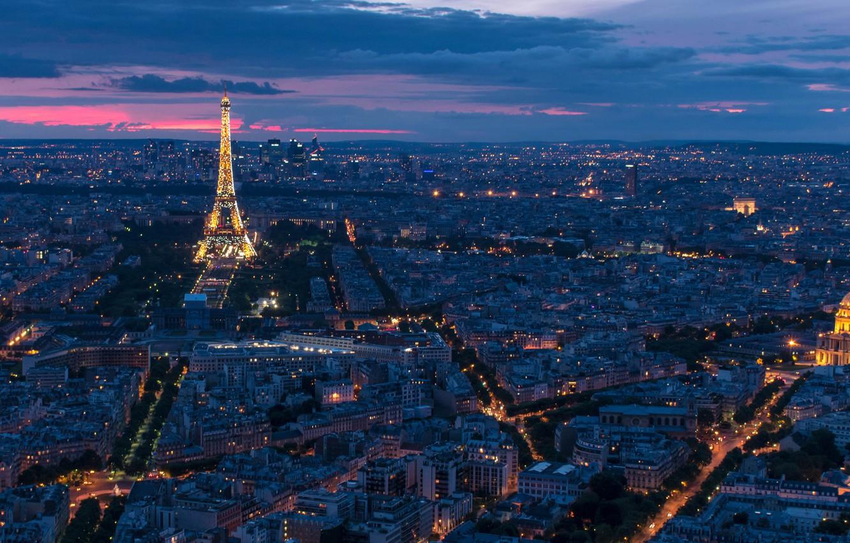 Photo wallpaper France, Paris, panorama, Eiffel Tower, Paris, night city, France, Eiffel Tower, Hotel des Invalides, Invalides