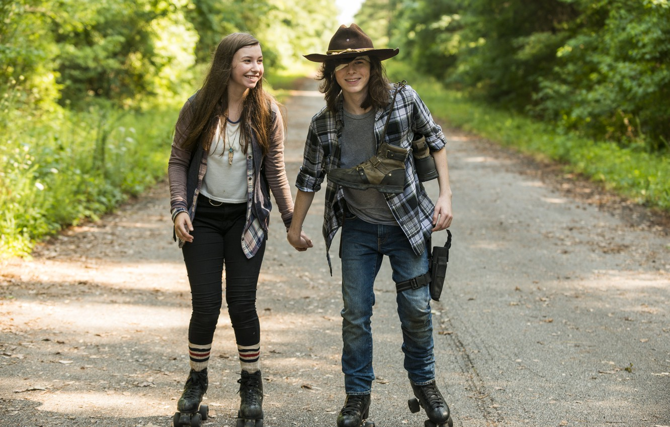 Wallpaper Carl Grimes Chandler Riggs Walking Dead Katelyn Nacon