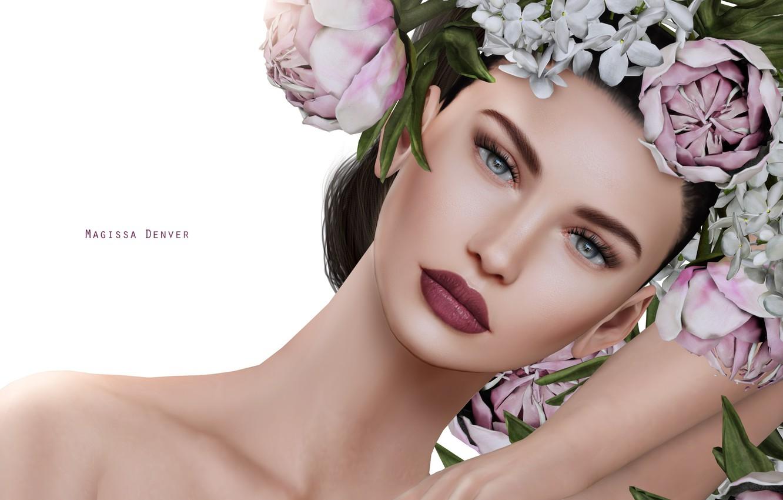 Photo wallpaper girl, flowers, portrait, wreath