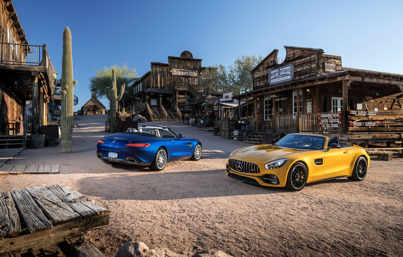 Photo wallpaper Mercedes, western, saloon, cactus, old west, Mercedes AMG GT, rustic environment