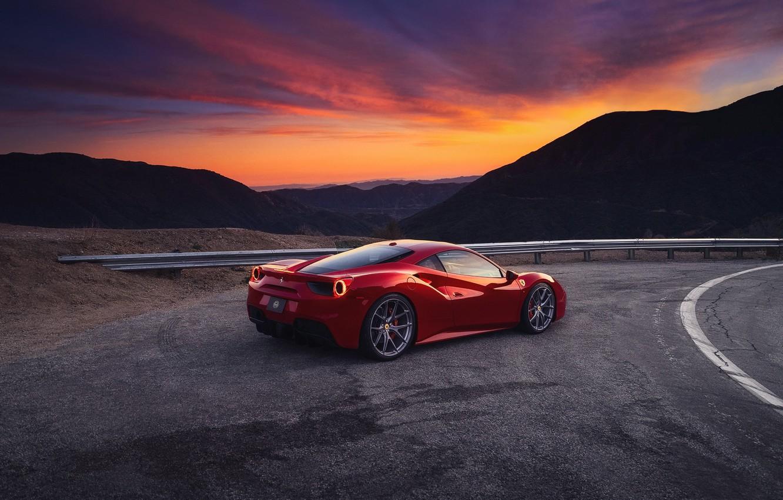 Photo wallpaper the sky, sunset, mountains, the evening, Ferrari, red, GTB, 488