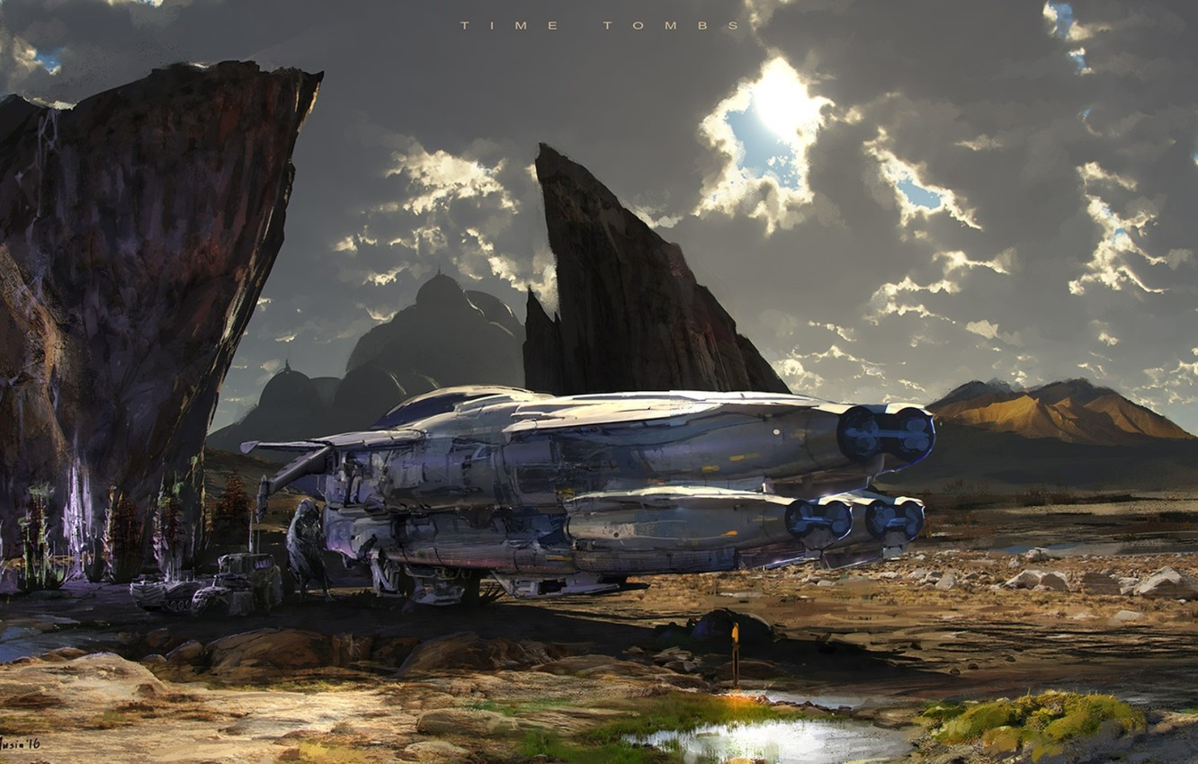Photo wallpaper mountains, aircraft, Sergey Musin, A Halted Journey, time tombs