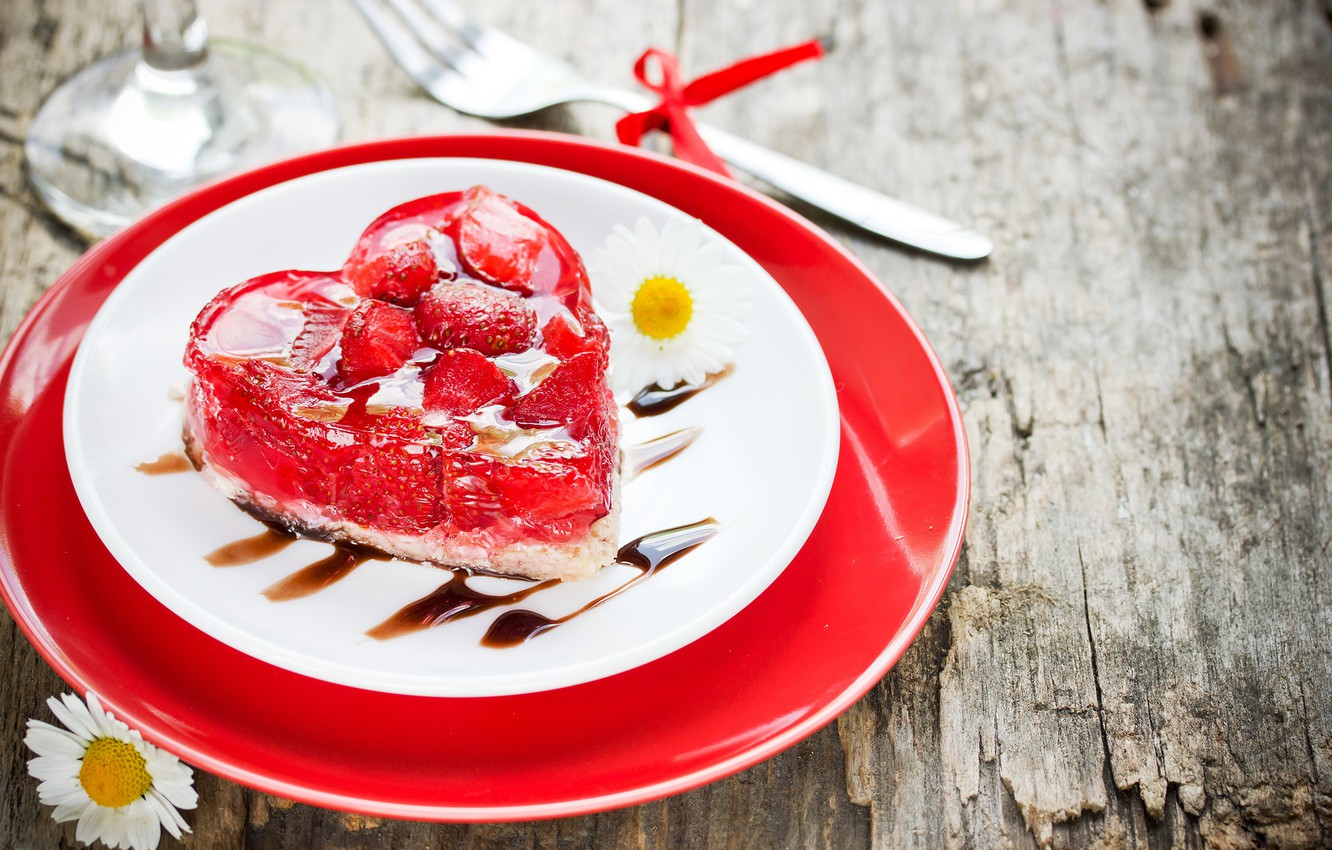 Photo wallpaper heart, chamomile, strawberry, plate, cake, cake, dessert, cakes, sweet, Valentine's Day