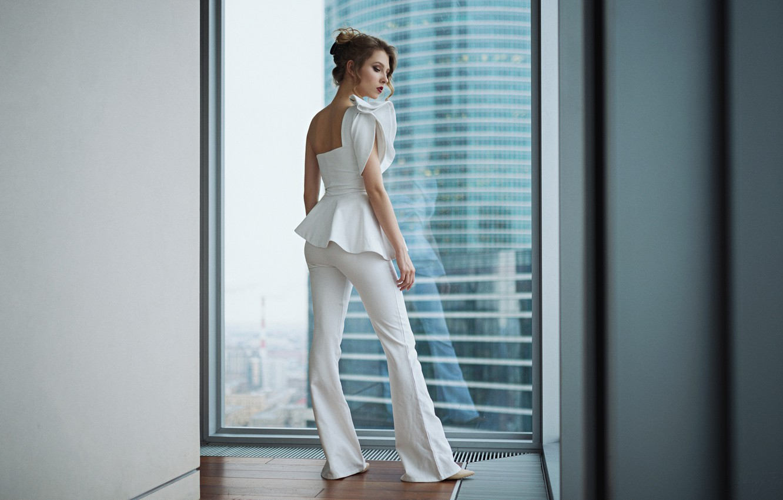 Photo wallpaper pose, style, model, window, costume, pants, Alisa Tarasenko, Sergey Fat, Sergey Zhirnov