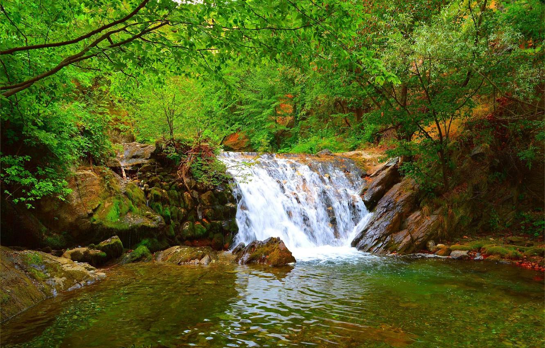 Photo wallpaper Nature, Stream, Waterfall, Stones, Nature, Waterfall, Flow