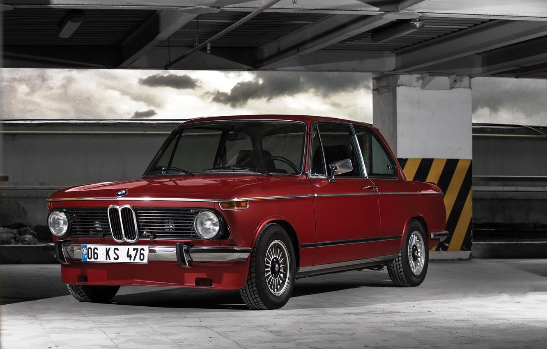 Photo wallpaper Red, Auto, Retro, BMW, Machine, Boomer, BMW, 2002, Old, German, BMW New class, BMW 2002, …