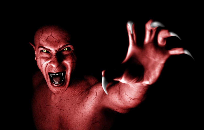 Photo wallpaper demon, red, monster, devil, vampire, fang, Dracula, claw, terror, oni, Nosferatu, fer