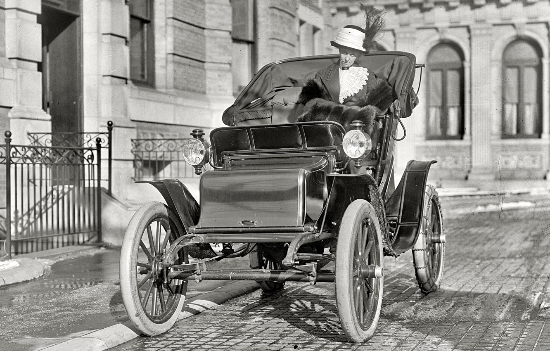 Photo wallpaper retro, Ford, USA, car, lady, 1910-th year