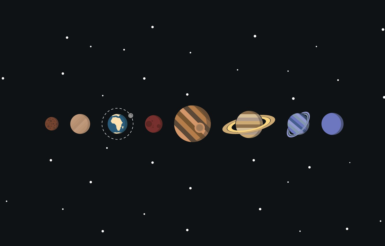 Photo wallpaper space, stars, planet, vector, solar system