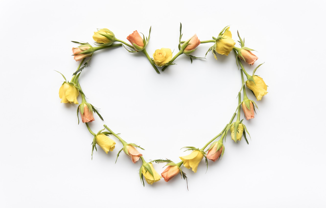 Photo wallpaper love, flowers, heart, roses, yellow, love, buds, heart, yellow, romantic, roses, bud, floral