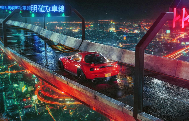 Photo wallpaper night, bridge, the city, lights, red, Mazda, RX 7, Khyzyl Saleem