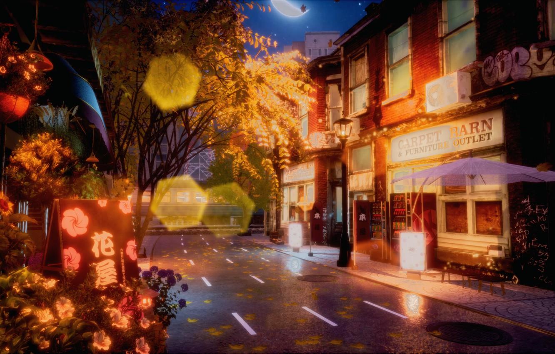 Photo wallpaper autumn, night, street, road, bokeh