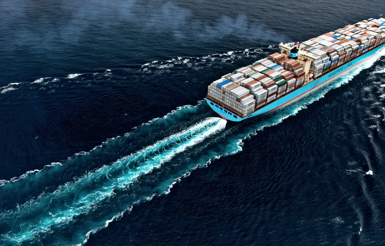 Photo wallpaper The ocean, Sea, The ship, Cargo, A container ship, Susan, Container, Maersk, Maersk Line, Cargo, …