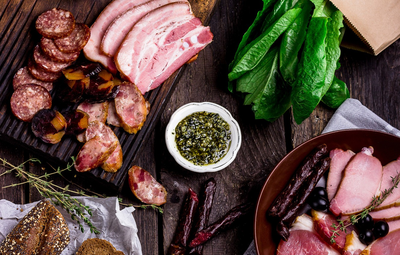 Photo wallpaper meat, sauce, sausage, cuts, spinach
