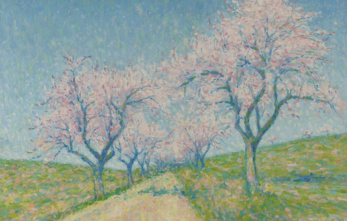 Photo wallpaper landscape, picture, spring, Achille Lauge, Achilles Box, The road between the Almond Trees in Bloom