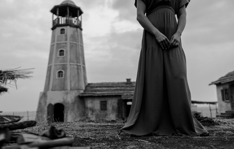 Photo wallpaper girl, lighthouse, dress, monochrome, Mikhail Potapov