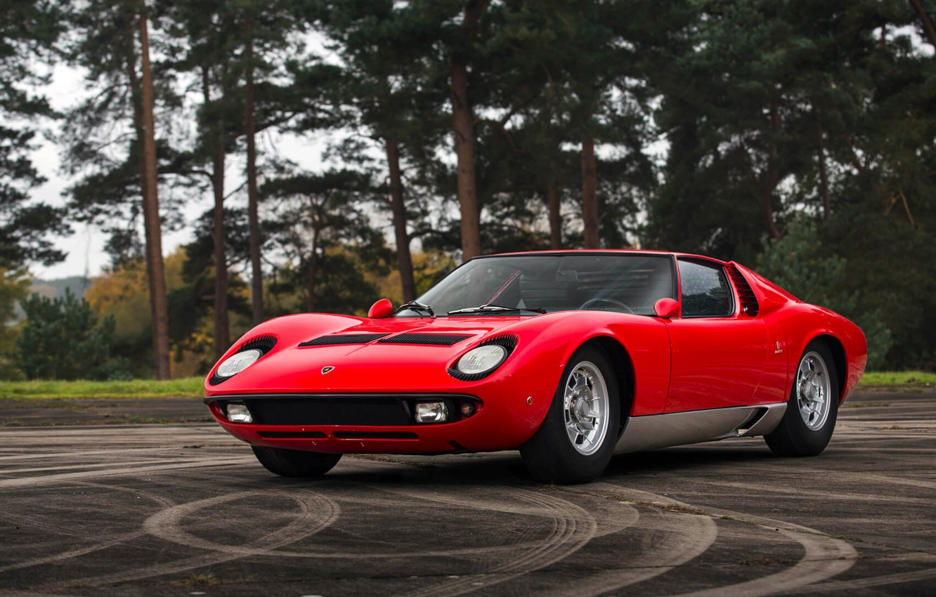 Photo wallpaper Red, Auto, Lamborghini, Retro, Machine, 1969, Lights, Car, Supercar, Miura, Lamborghini Miura, Italian, P400, Body, …