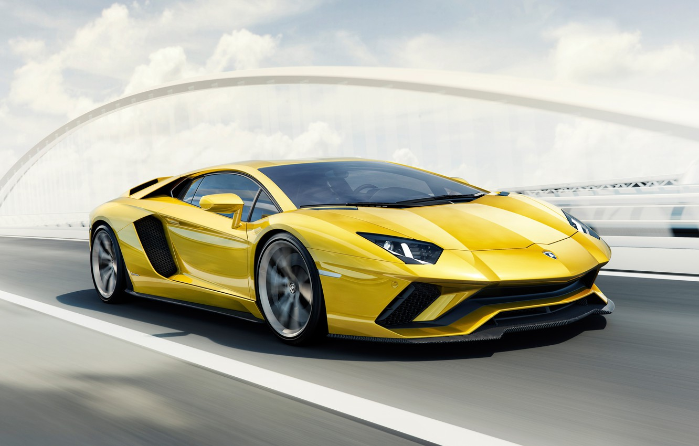 Photo wallpaper Car, Yellow, Super, 2017, Lamborghini Aventador S 4K