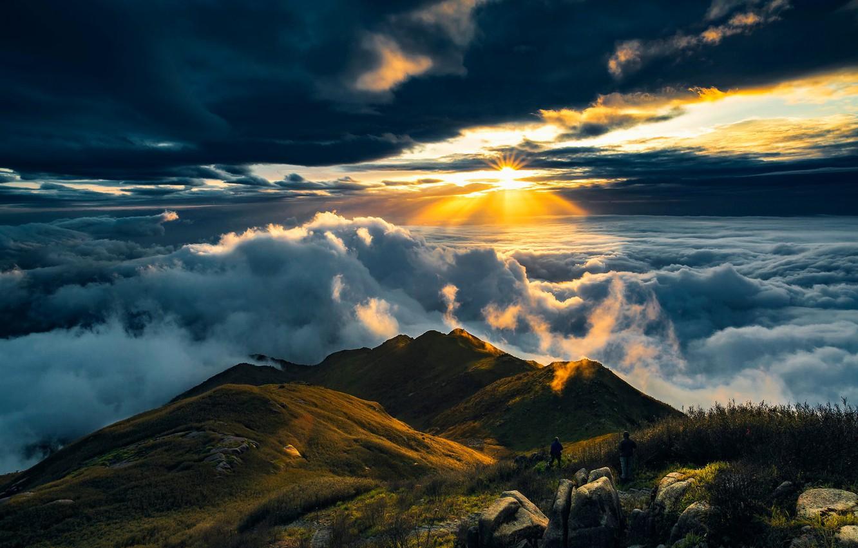 Photo wallpaper Sun, Mountain, View, Travel, Cloud, Rise