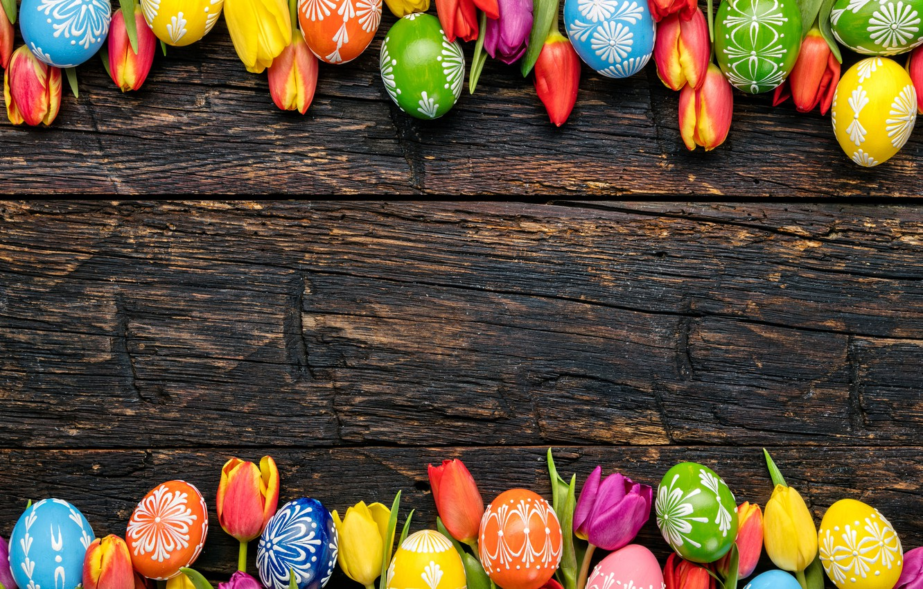 Photo wallpaper colorful, Easter, tulips, happy, wood, flowers, tulips, spring, Easter, eggs, holiday, the painted eggs