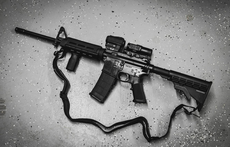 Photo wallpaper background, AR-15, a semi-automatic rifle