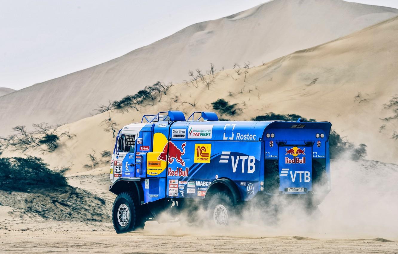 Photo wallpaper Sand, Truck, Race, Master, Russia, Kamaz, Rally, Dakar, Dakar, Rally, KAMAZ, The roads, RedBull, Master, …
