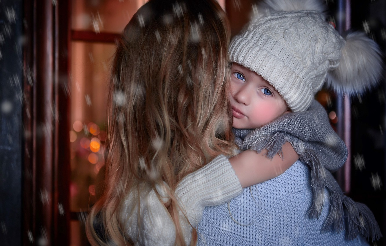 Photo wallpaper winter, look, snow, woman, scarf, baby, POM-poms, mom, child, cap, mittens