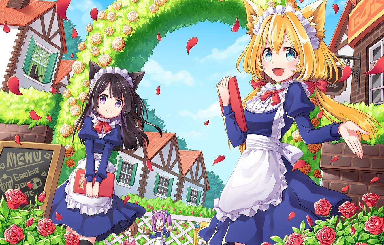 Photo wallpaper flowers, girls, roses, anime, art