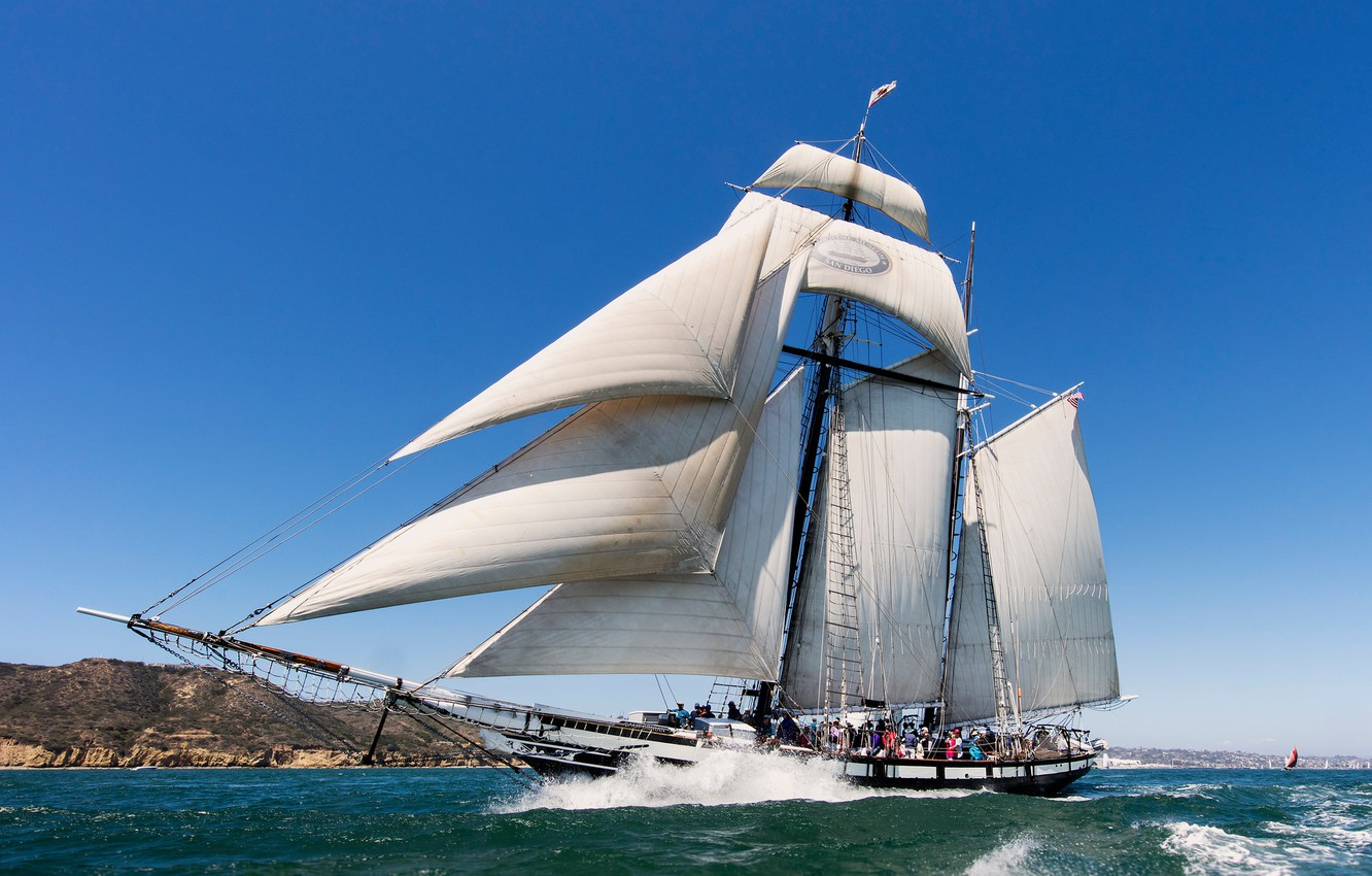 Photo wallpaper sea, sailboat, CA, sails, California, schooner, San Diego