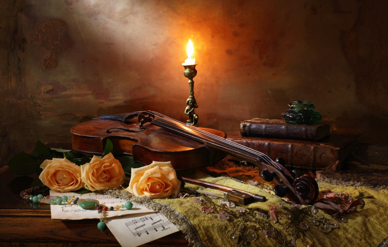 Photo wallpaper violin, books, roses, candle