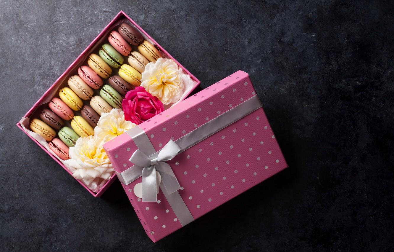 Photo wallpaper flowers, box, cookies, box, flower, decor, sweet, macaroon