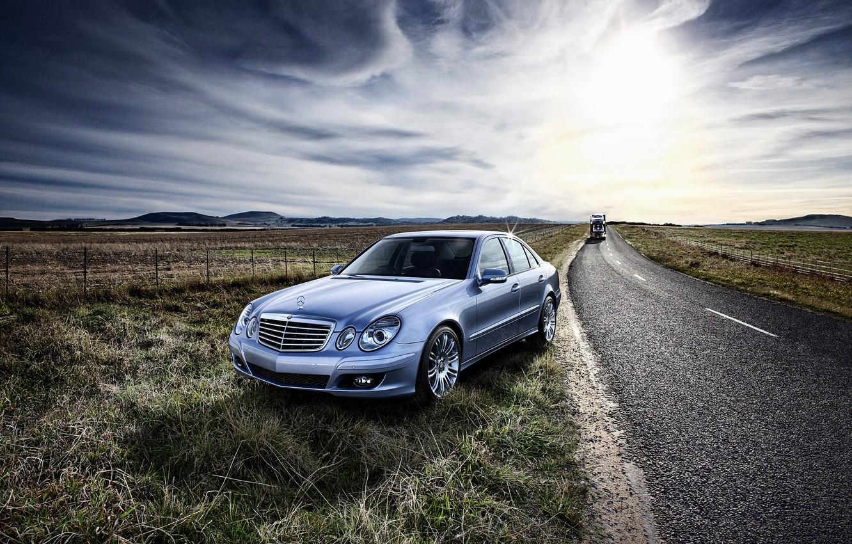 Photo wallpaper road, field, Mercedes-Benz, E-Class, Mercedes, W211