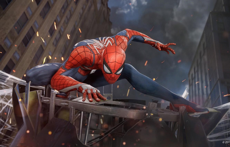 Photo wallpaper spider, game, boy, fight, mask, Spider-Man, uniform, seifuku, SpiderMan, Spider-Man Homecoming, E3 2017, Spider Man …