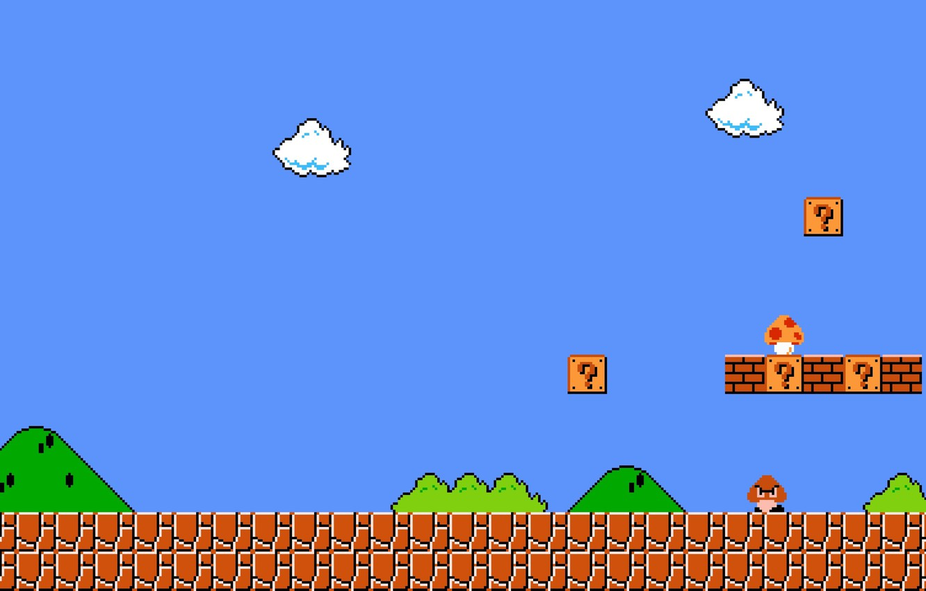 Photo wallpaper cloud, pixels, Super Mario, enemies, fungus, mario bros, first level