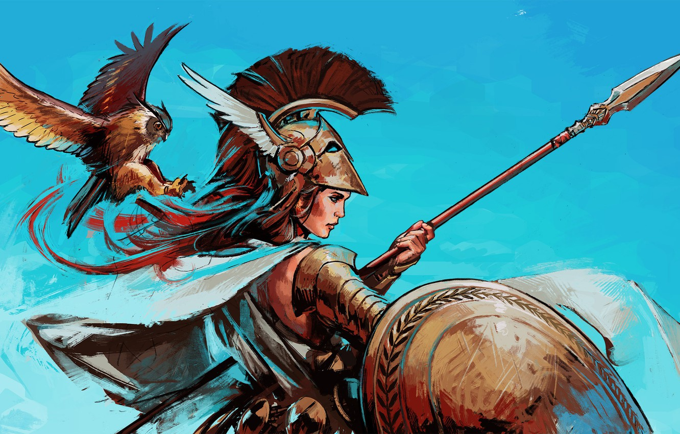 Photo wallpaper bird, God, helmet, spear, shield, goddess, Athena, greek mythology