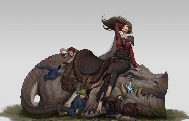 Photo wallpaper art, fantasy, illustration, Take a break, iqnatius budi