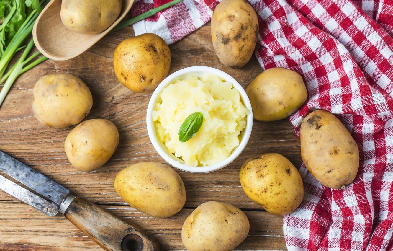 Photo wallpaper knife, potatoes, puree, so, potato